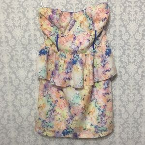 SugarLips Pastel Print Strapless Peplum Dress